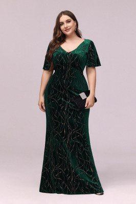 Modest Green Velvet Plus...
