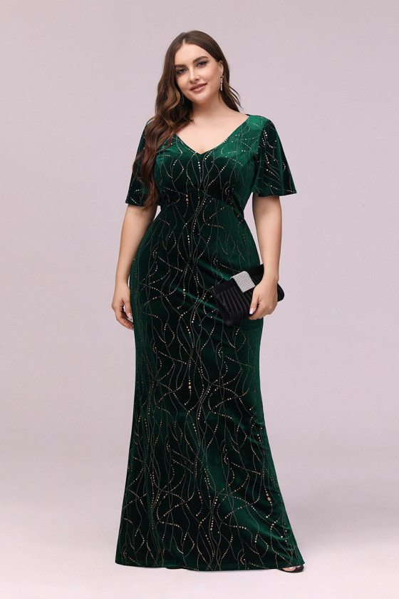 Modest Green Velvet Plus Size Evening Dress With Puffy Sleeves