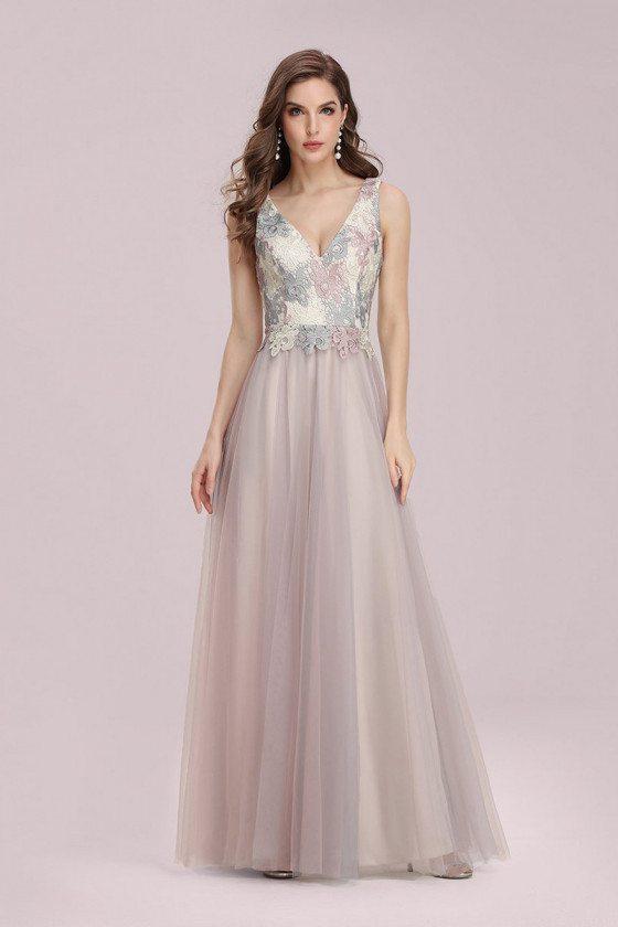 Vneck Pink Appliques Aline Long Bridesmaid Dress Sleeveless