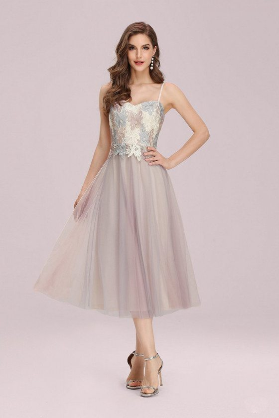 Pink Tulle Tea Length Bridesmaid Dress With Spaghetti Straps