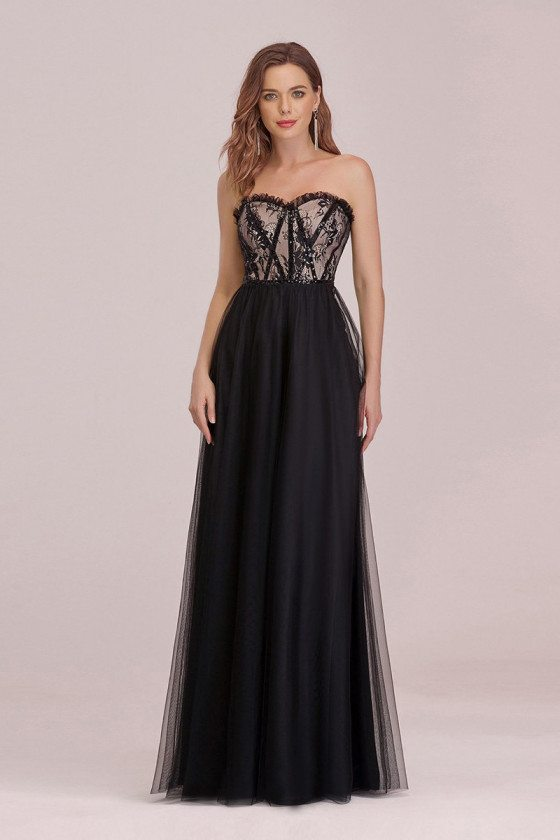 Strapless Empire Waist Simple Black Prom Dress With Lace Bodicy
