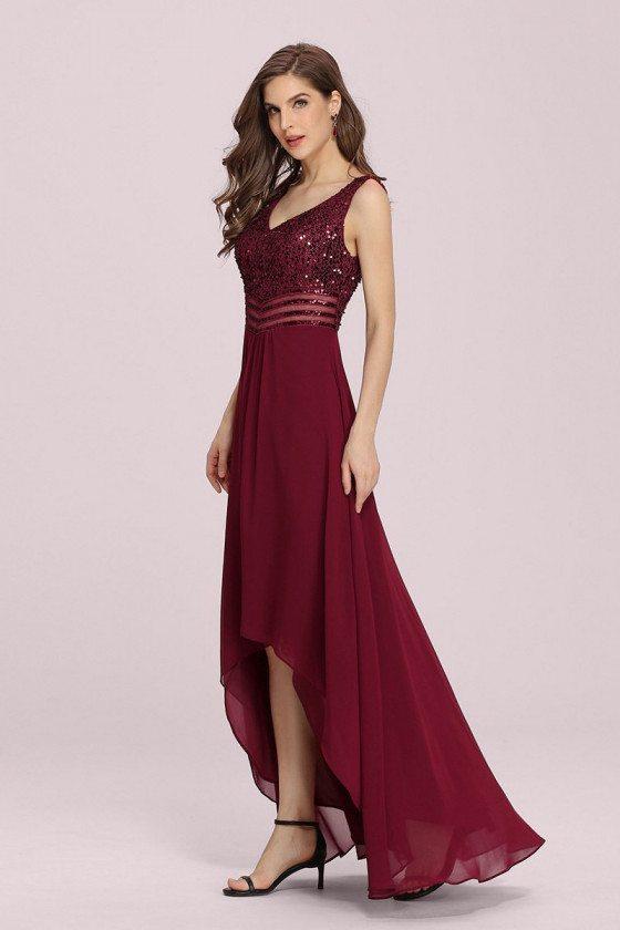 Burgundy Vneck Sequins High Low Chiffon Party Dress Sleeveless