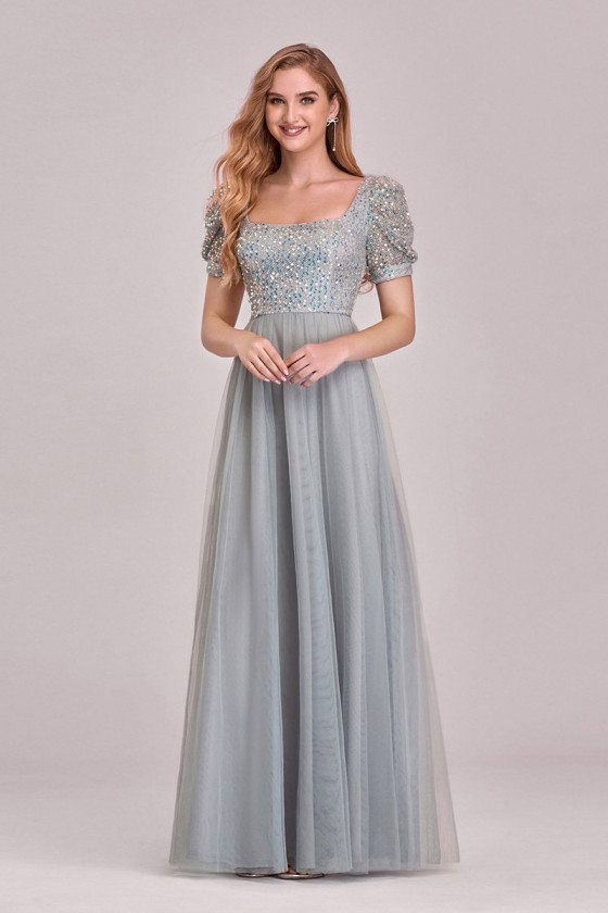 Gorgeous Grey Square Neckline Aline Tulle Prom Dress With Bubble Sleeves Sequins