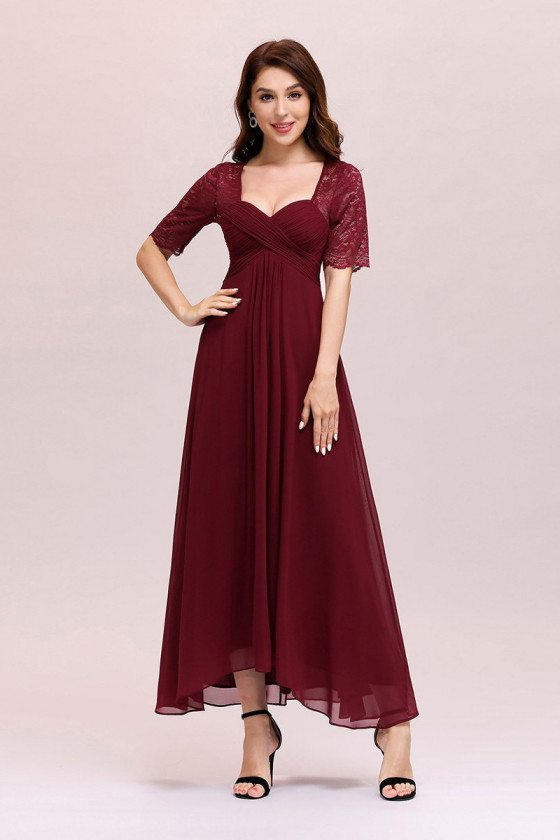 Burgundy Ankle Length Chiffon Party Dress With Short Leeves