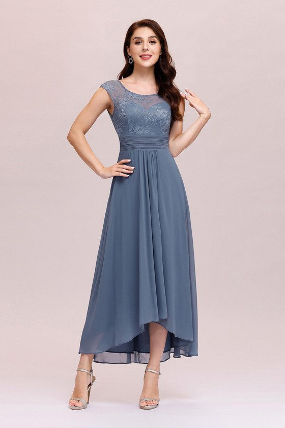Dusty Navy Chiffon Ankle Length Party Dress With Sheer Neckline