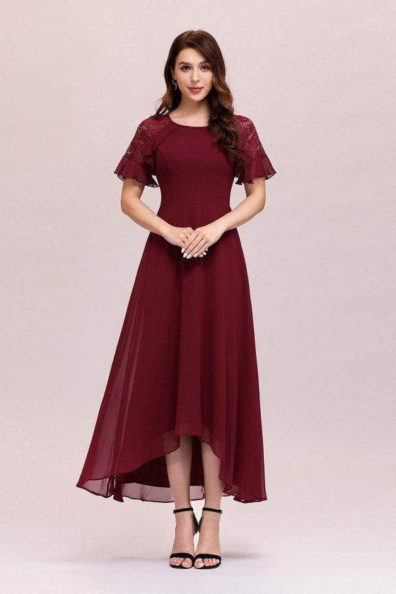 Modest Burgundy Aline Chiffon Wedding Party Dress With Short Sleeves