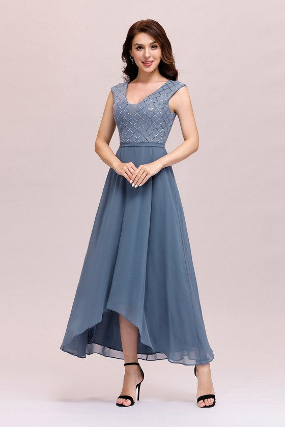 Trendy High Low Dusty Blue Chiffon Wedding Party Dress Vneck Sleeveless