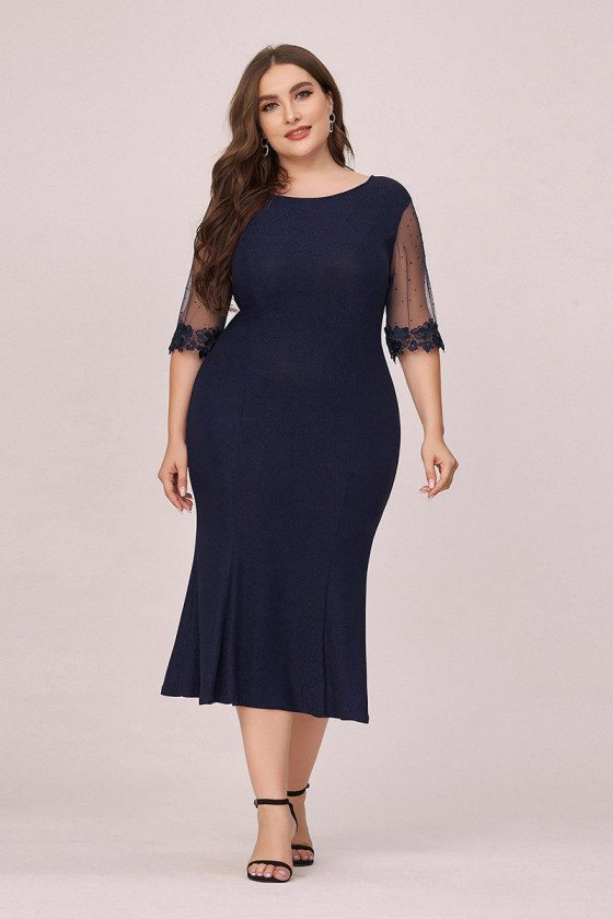 Plus Size Navy Blue Round Neck Bodycon Wedding Guest Dress With Sleeves