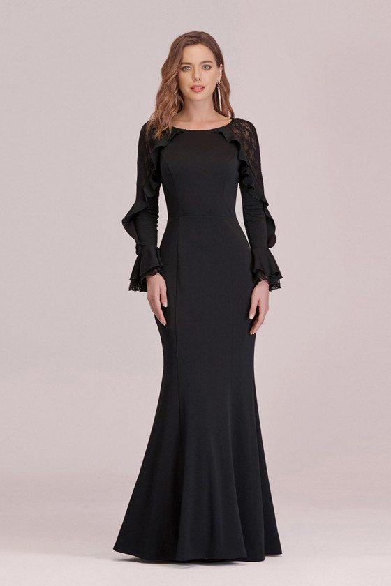 Slim Long Black Mermaid Evening Dress With Ruffles Long Sleeves