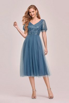 Dusty Blue Tea Length Tulle...