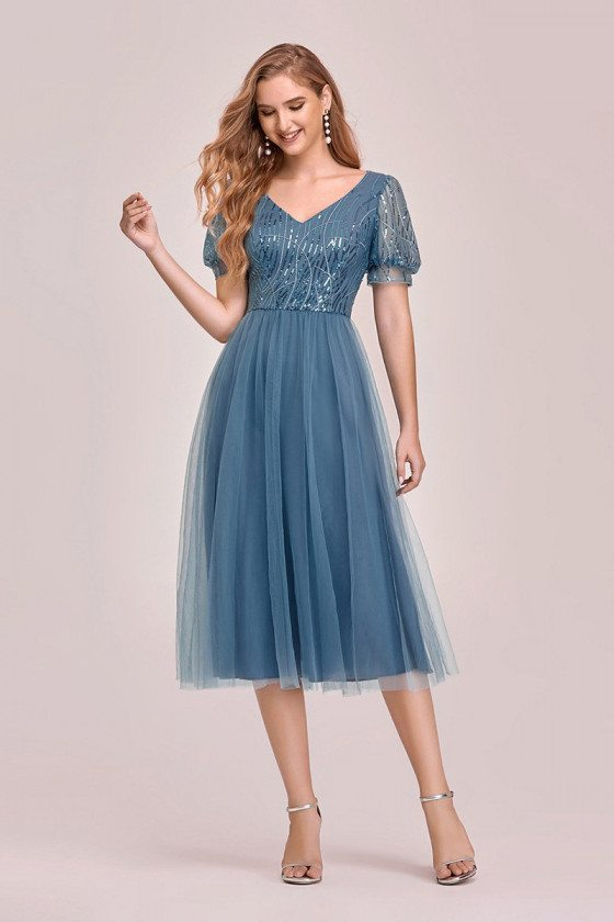 Dusty Blue Tea Length Tulle Party Dress With Short Sleeves