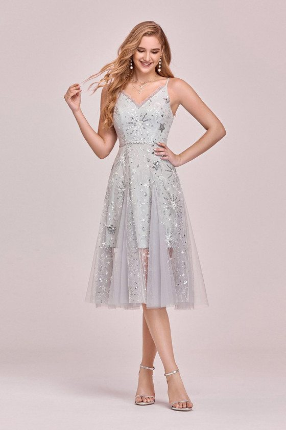 Glitter Stars Tulle Cute Party Dress With Spaghetti Straps