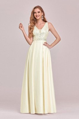 Double Vneck Yellow Satin...