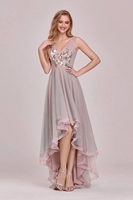 Dusty Pink High Low Party Prom Dress Vneck With Appliques