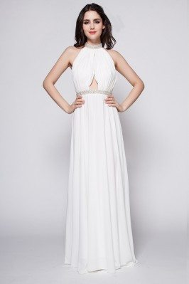 Beaded Long Halter Open Back Evening Prom Dress