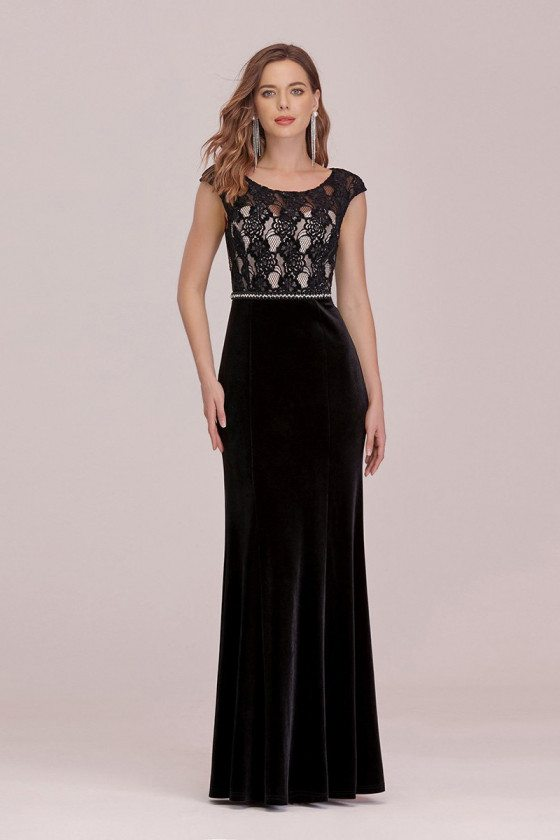 Sassy Long Black Formal Evening Dress With Lace Cap Sleeves
