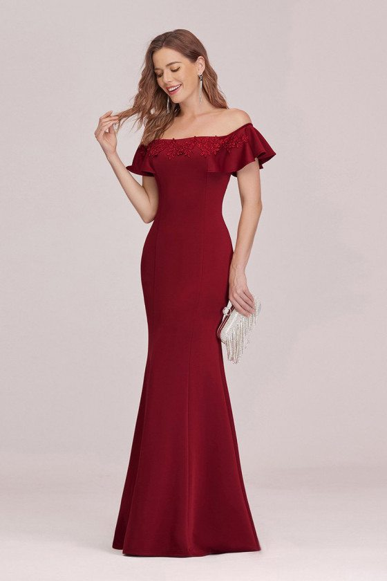 Burgundy Off Shoulder Mermaid Evening Dress With Appliques