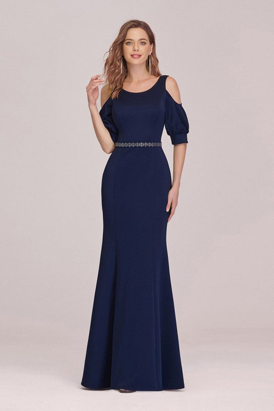 Naby Blue Mermaid Evening Formal Dress With Cold Shoulder Sleeves
