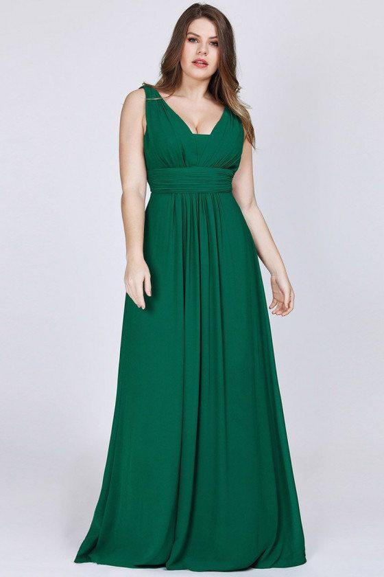 Elegant Vneck Plus Size Green Evening Dress For Women