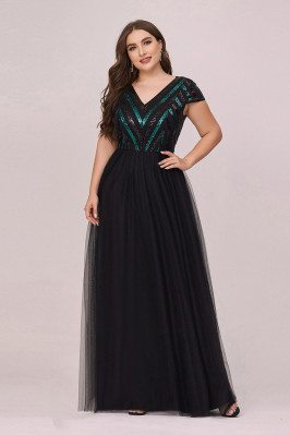 Plus Size Vneck Black Tulle...