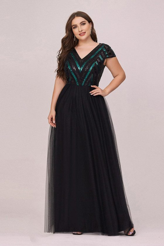 Plus Size Vneck Black Tulle Prom Dress With Cap Sleeves