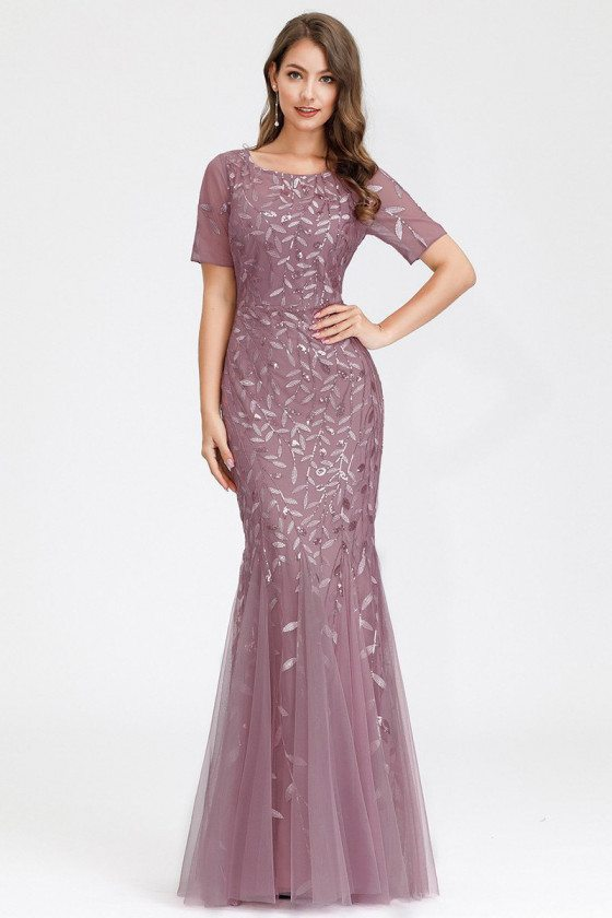 Orchid Mermaid Sequined Formal Party Dress With Short Sleeves