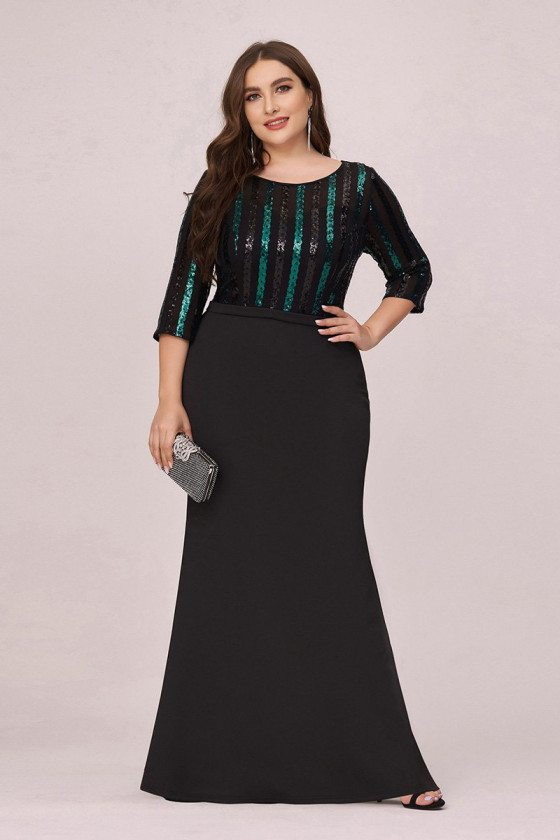 Plus Size Sequined Mermaid Evening Dress With 3/4 Sleeves