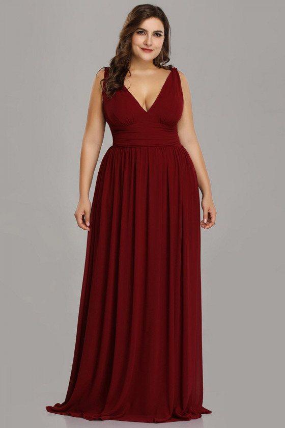 Plus Size Burgundy Vneck Long Evening Dress Simple