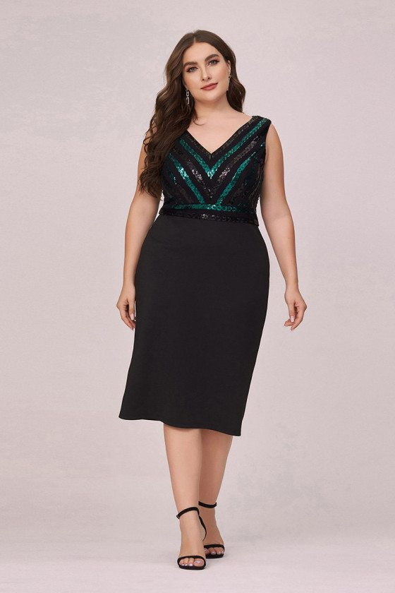 Plus Size Vneck Sequined Midi Party Dress Sleeveless