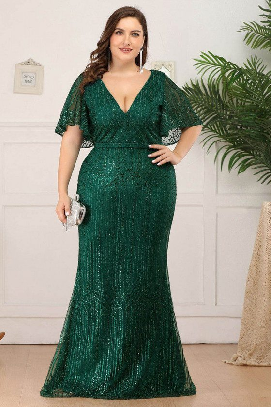 Deep Vneck Sparkly Sequins Mermaid Formal Dress With Puffy Sleeves