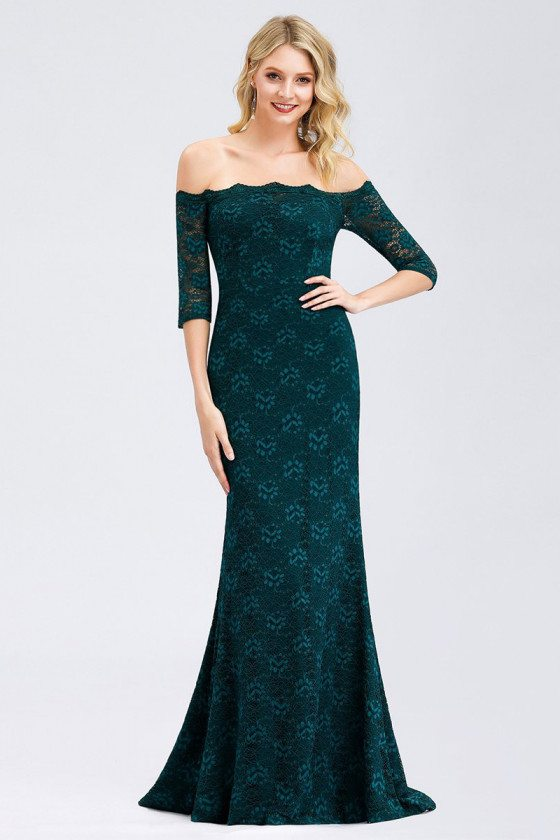 Teal Off Shoulder Lace Mermaid Wedding Party Dress With Sleeves