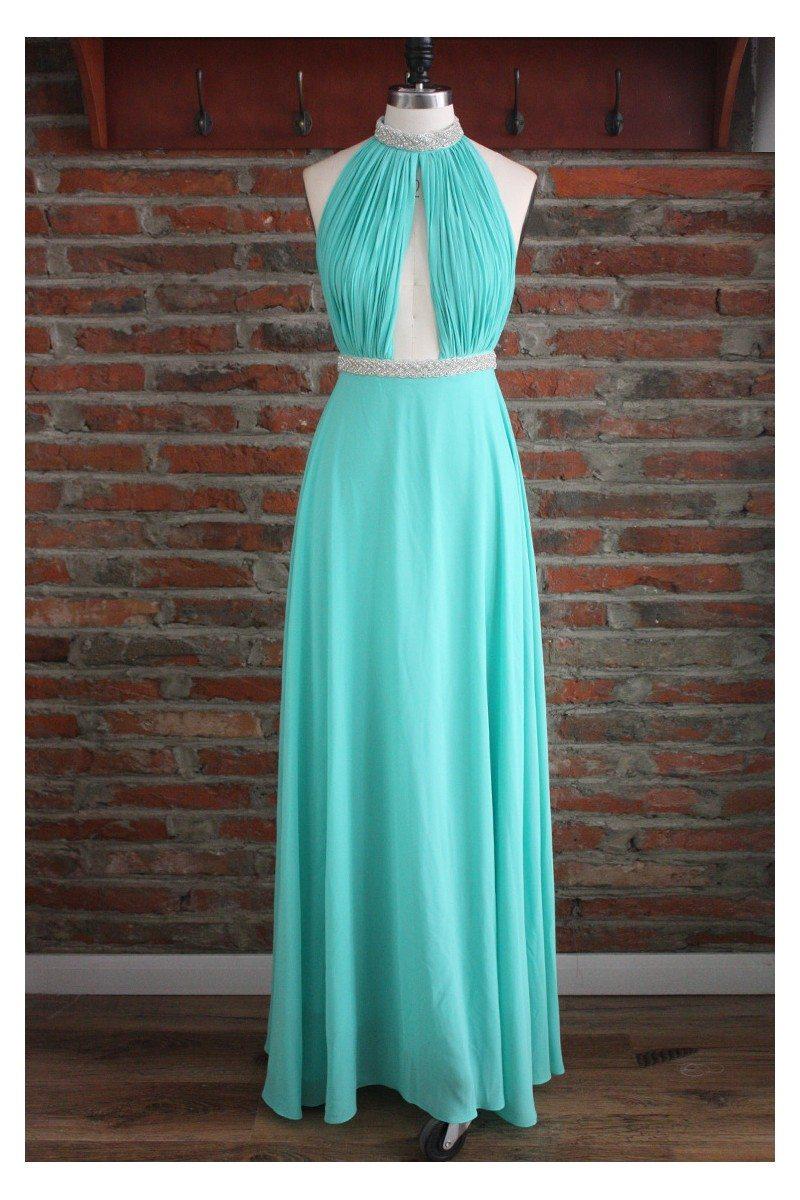 Beaded Long Halter Open Back Evening Prom Dress - $104 #CK381 ...