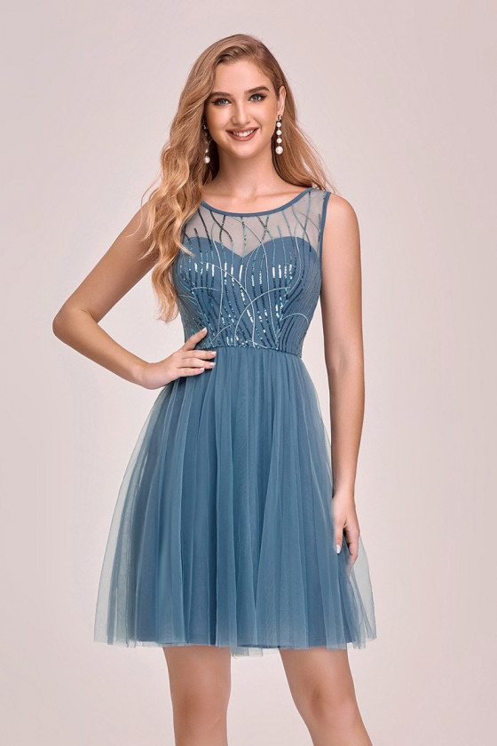 Dusty Blue Tulle Short Party Dress With Sequins