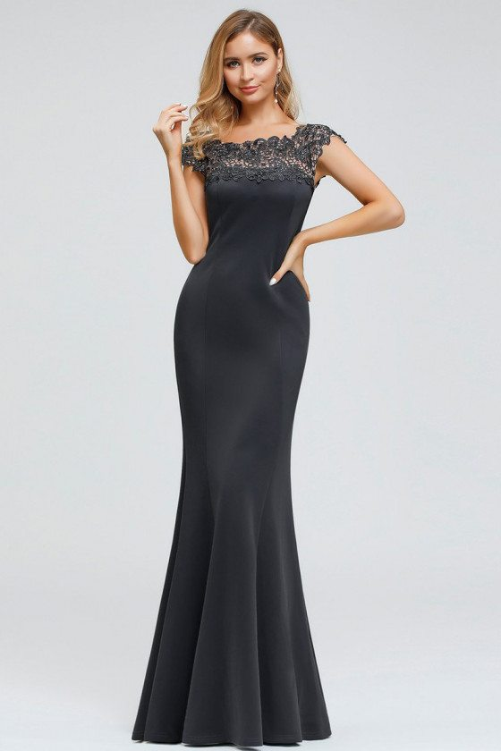 Deep Grey Mermaid Long Evening Dress With Lace Cap Sleeves