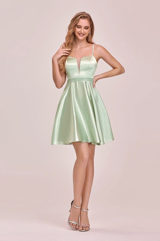 Lovely Simple Satin Short Prom Dress With Beaded Waist