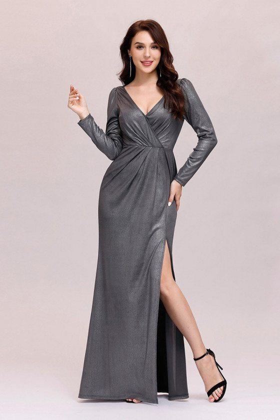 Simple Vneck Grey Long Evening Dress With Split Long Sleeves
