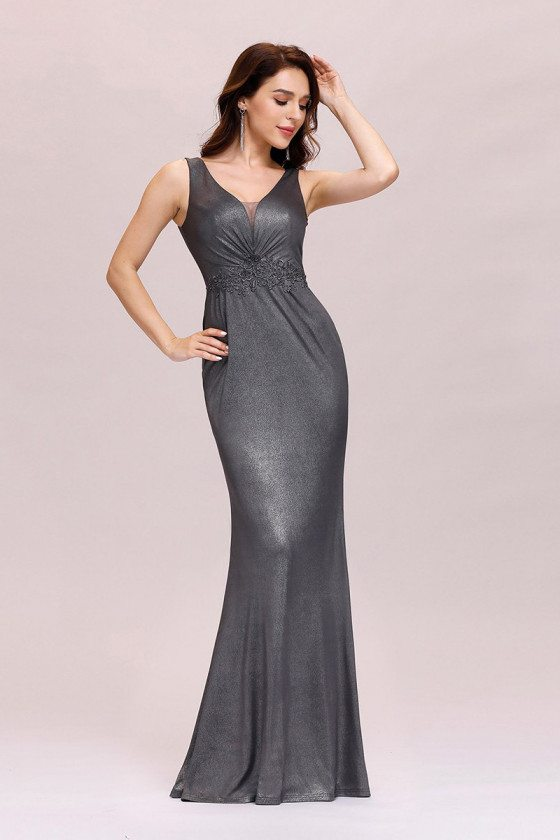 Grey Vneck Fishtail Evening Dress For Party