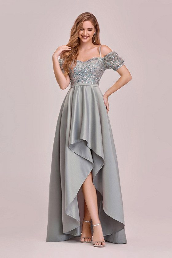 Grey High Low Sequins Satin Fun Prom Dress With Sleeves