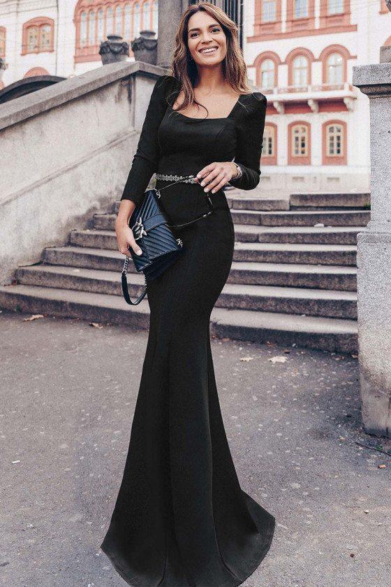 Classy Long Black Slim Evening Dress With Long Sleeves