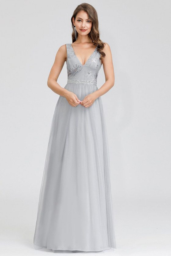 Grey Vneck Sequined Vneck Simple Prom Dress For Less