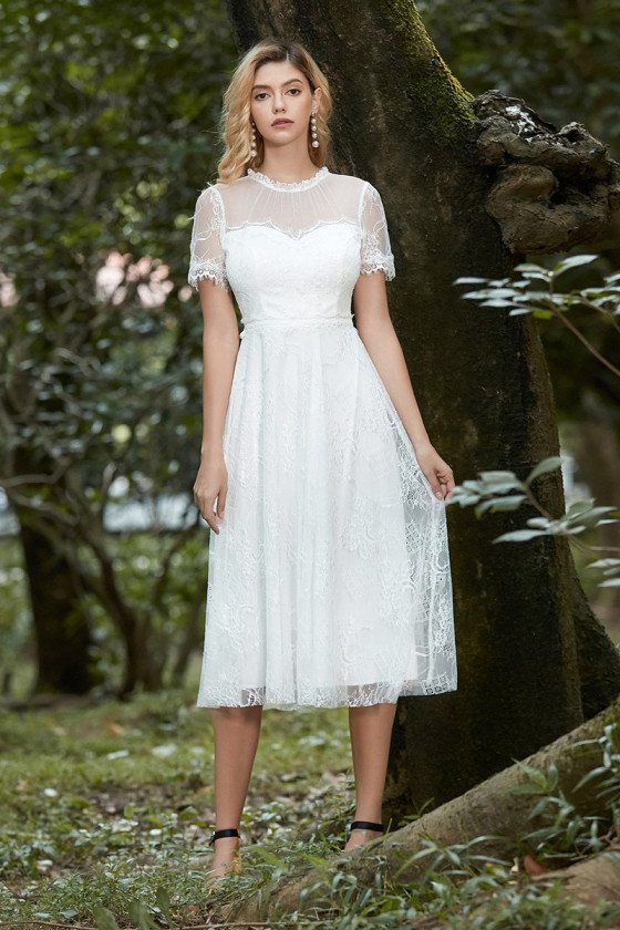 Cream White Lace Tea Length Casual Wedding Dress With Illusion Neckline