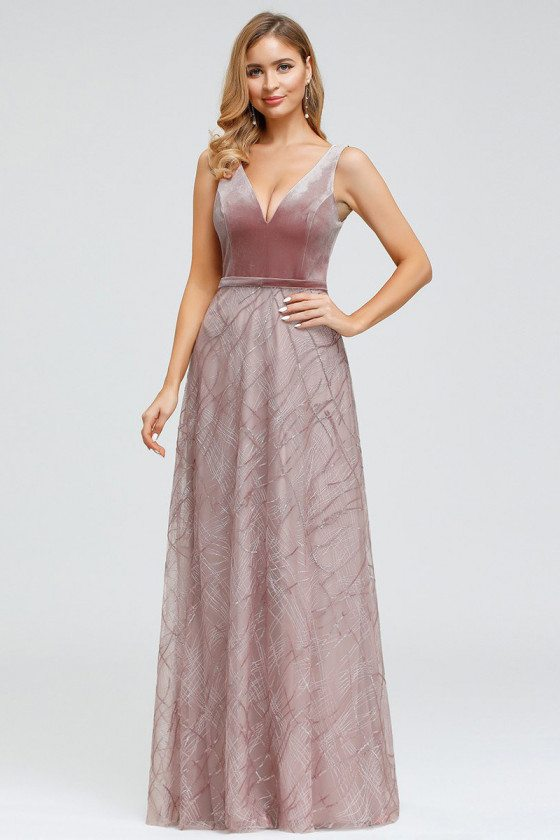 Purple Orchid Embroidery Lace Velvet Evening Dress Sleeveless