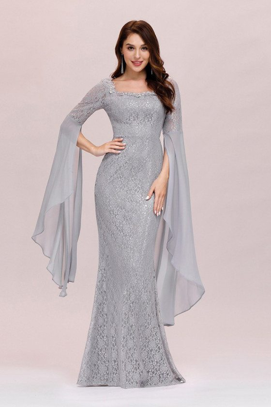 Grey Lace Mermaid Evening Prom Dress With Cape Sleeves