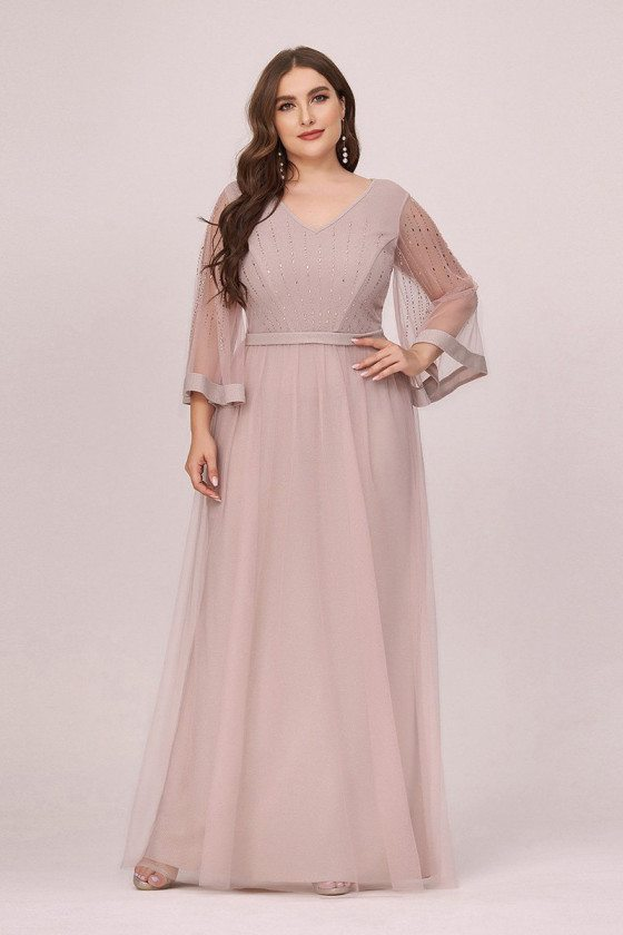 Plus Size Vneck Elegant Formal Dress With Sheer Long Sleeves