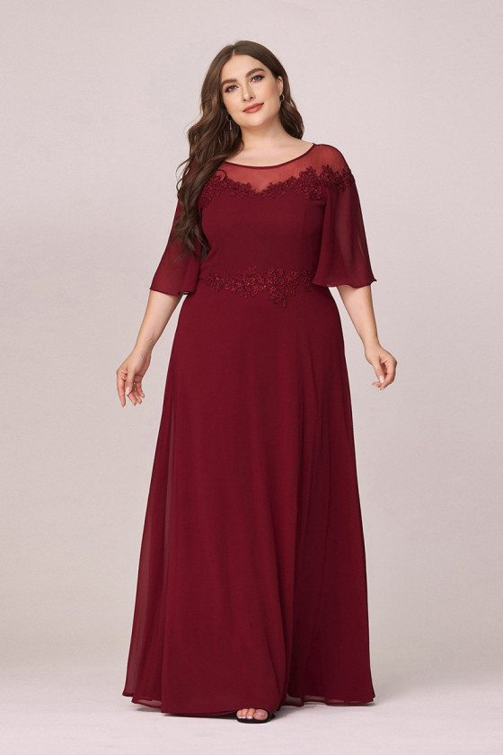 Plus Size Burgundy Comfy Chiffon Evening Dress With Puffy Sleeves