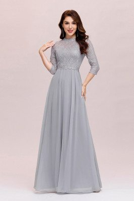 Modest Grey Lace Aline...
