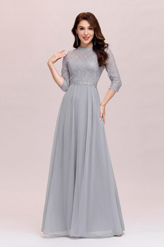 Modest Grey Lace Aline Evening Dress Chiffon With 3/4 Sleeves
