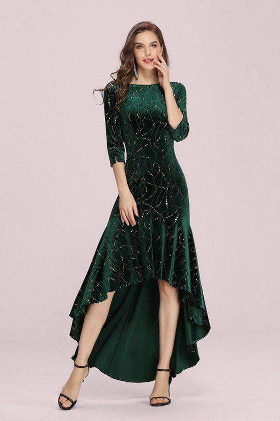 Modest Velvet Green High Low Party Dress With Sequins Sleeves