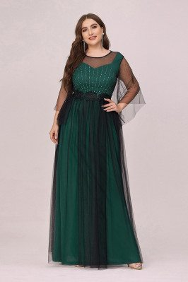 Plus Size Green Tulle Long...
