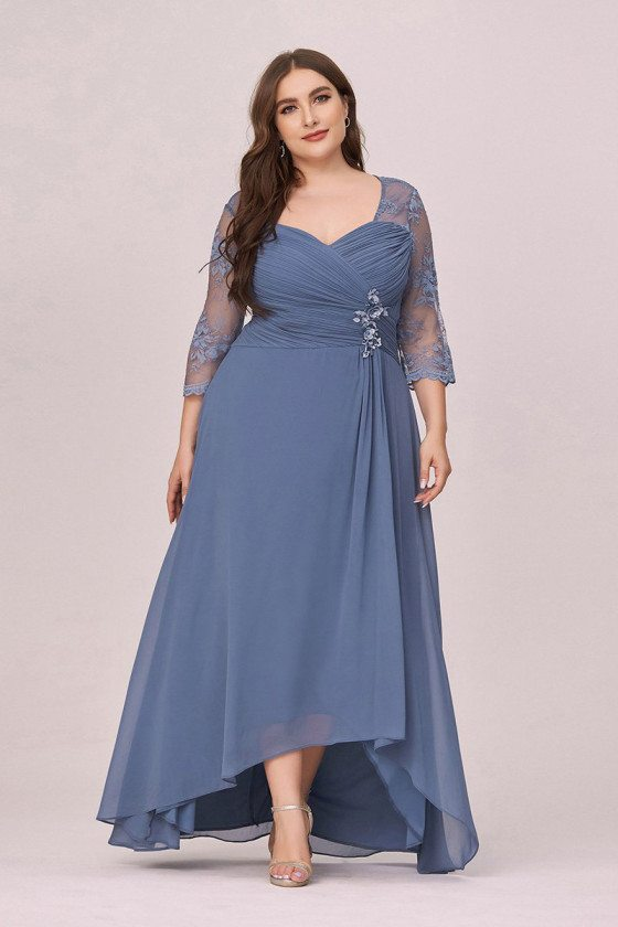Dusty Navy Chiffon Plus Size Ruched Party Dress With Lace Sheer Sleeves